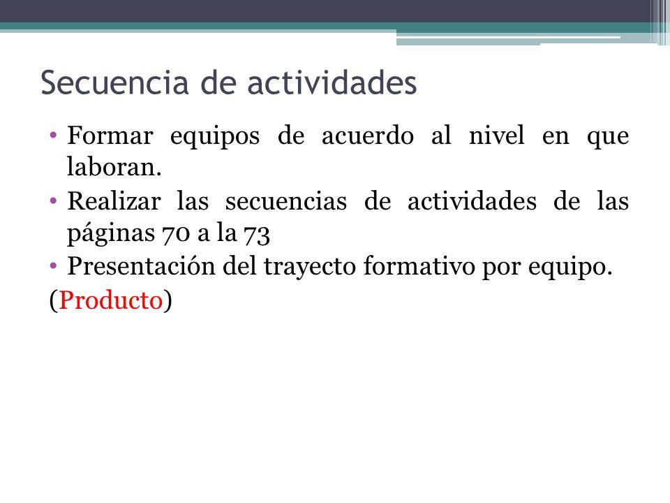 Secuencia de actividades Formar equipos de acuerdo al nivel en que laboran. Realizar las secuencias de actividades de las páginas 70 a la 73 Presentac