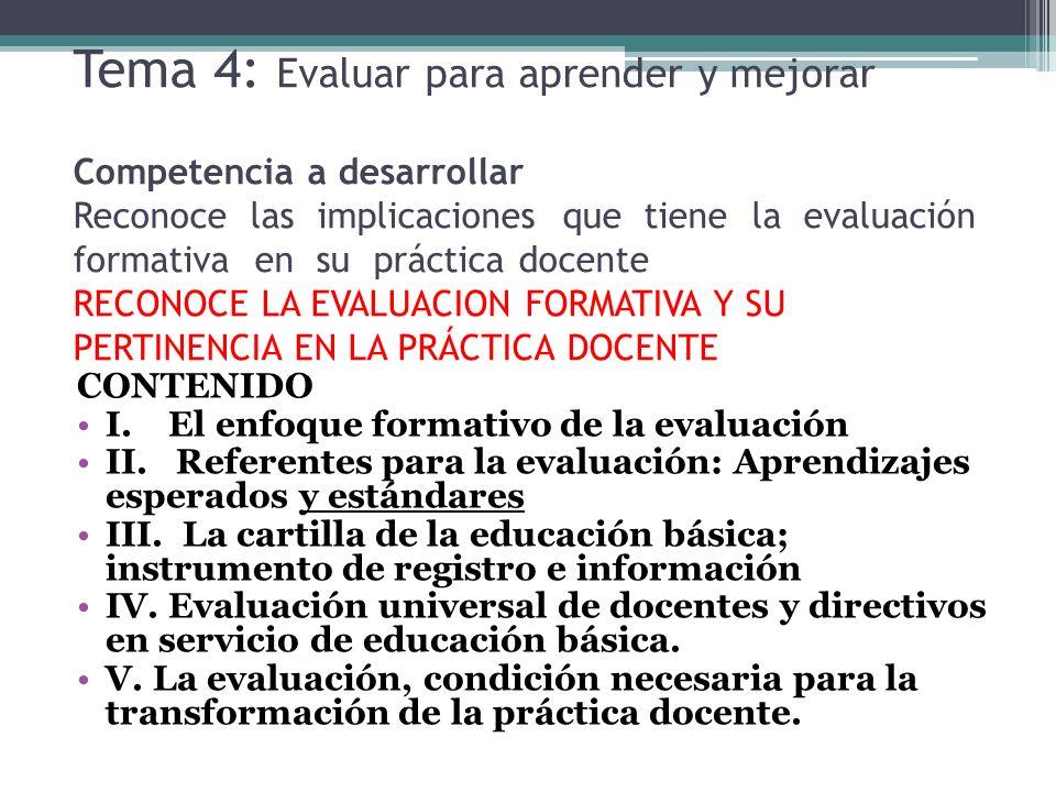 Tema 4: Evaluar para aprender y mejorar Competencia a desarrollar Reconoce las implicaciones que tiene la evaluación formativa en su práctica docente