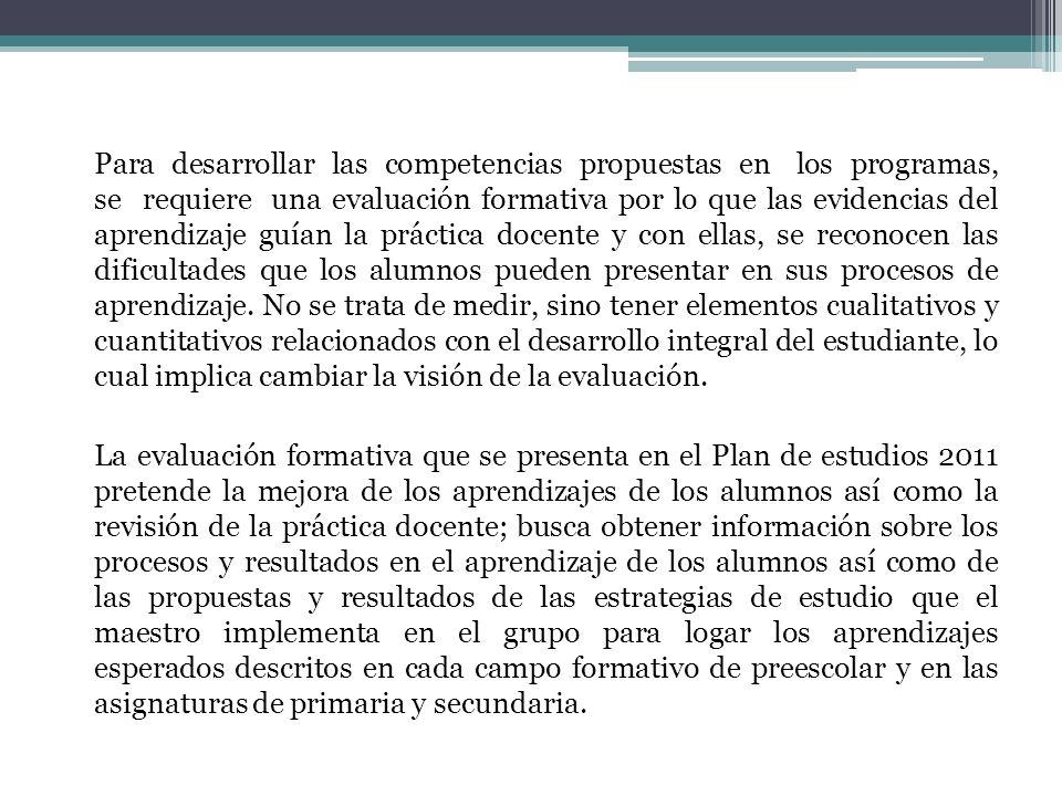 Para desarrollar las competencias propuestas en los programas, se requiere una evaluación formativa por lo que las evidencias del aprendizaje guían la