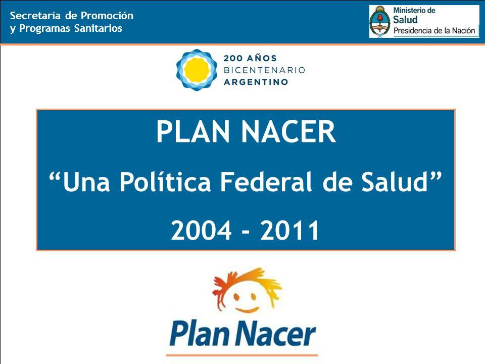 11 Secretaría de Promoción y Programas Sanitarios PLAN NACER Una Política Federal de Salud 2004 - 2011