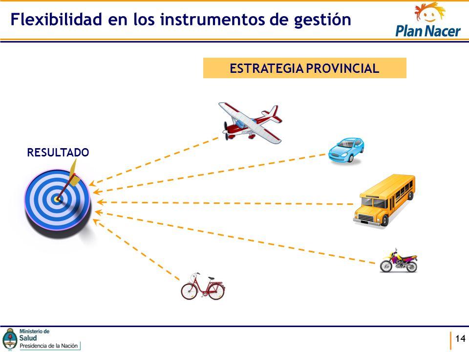 14 ESTRATEGIA PROVINCIAL RESULTADO Flexibilidad en los instrumentos de gestión
