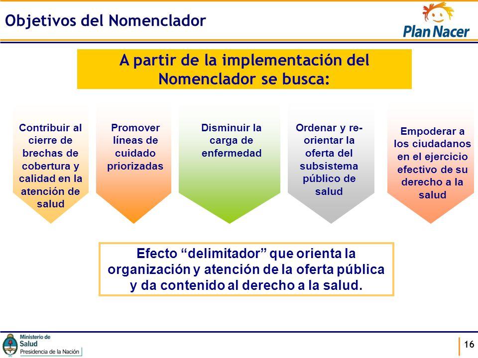 16 A partir de la implementación del Nomenclador se busca: Contribuir al cierre de brechas de cobertura y calidad en la atención de salud Promover lín