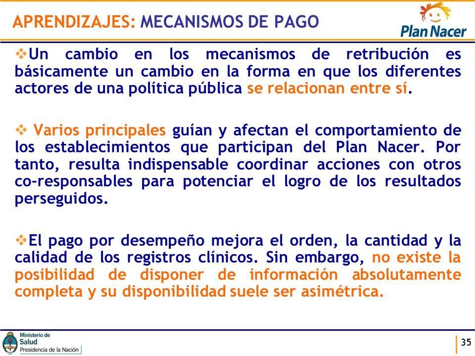 APRENDIZAJES: MECANISMOS DE PAGO Un cambio en los mecanismos de retribución es básicamente un cambio en la forma en que los diferentes actores de una