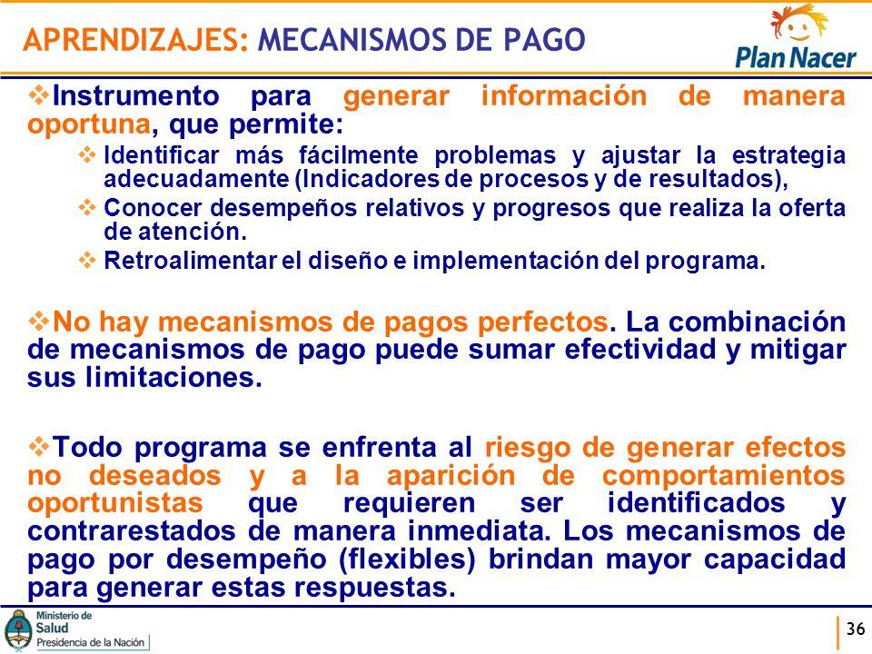 APRENDIZAJES: MECANISMOS DE PAGO Instrumento para generar información de manera oportuna, que permite: Identificar más fácilmente problemas y ajustar