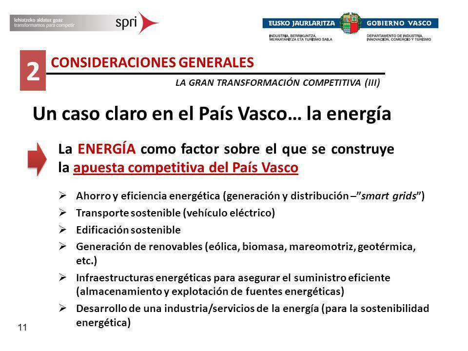 11 2 CONSIDERACIONES GENERALES LA GRAN TRANSFORMACIÓN COMPETITIVA (III) Un caso claro en el País Vasco… la energía La ENERGÍA como factor sobre el que