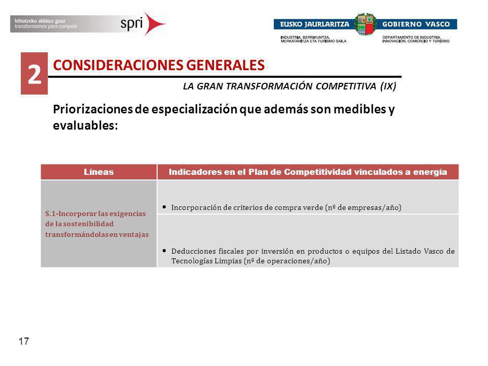 17 2 CONSIDERACIONES GENERALES LA GRAN TRANSFORMACIÓN COMPETITIVA (IX) Priorizaciones de especialización que además son medibles y evaluables: Líneas