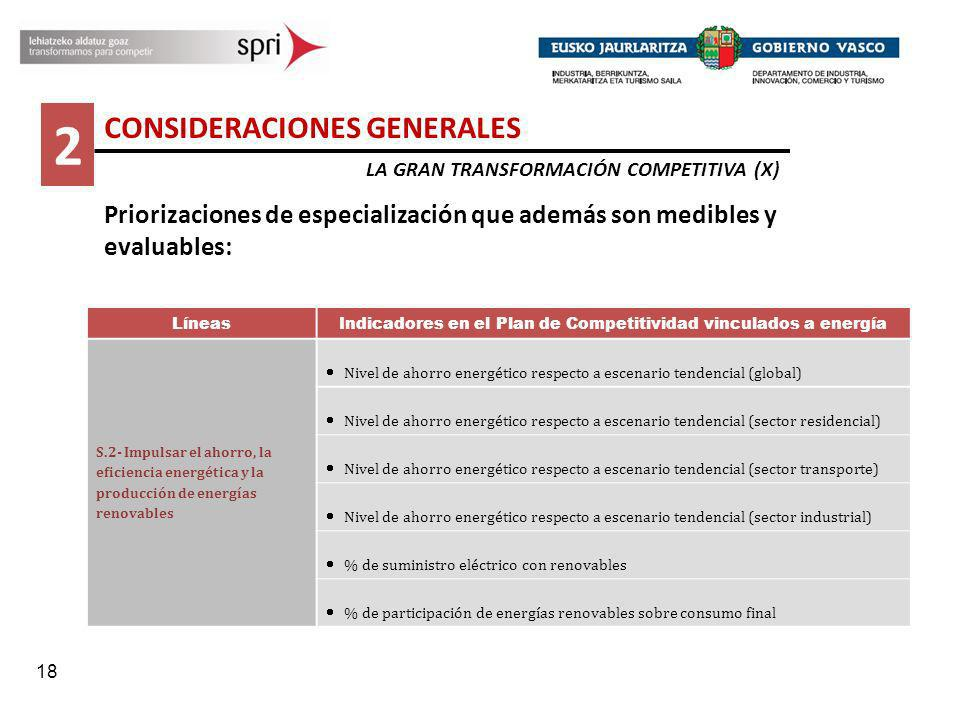 18 2 CONSIDERACIONES GENERALES LA GRAN TRANSFORMACIÓN COMPETITIVA (X) Priorizaciones de especialización que además son medibles y evaluables: Líneas I
