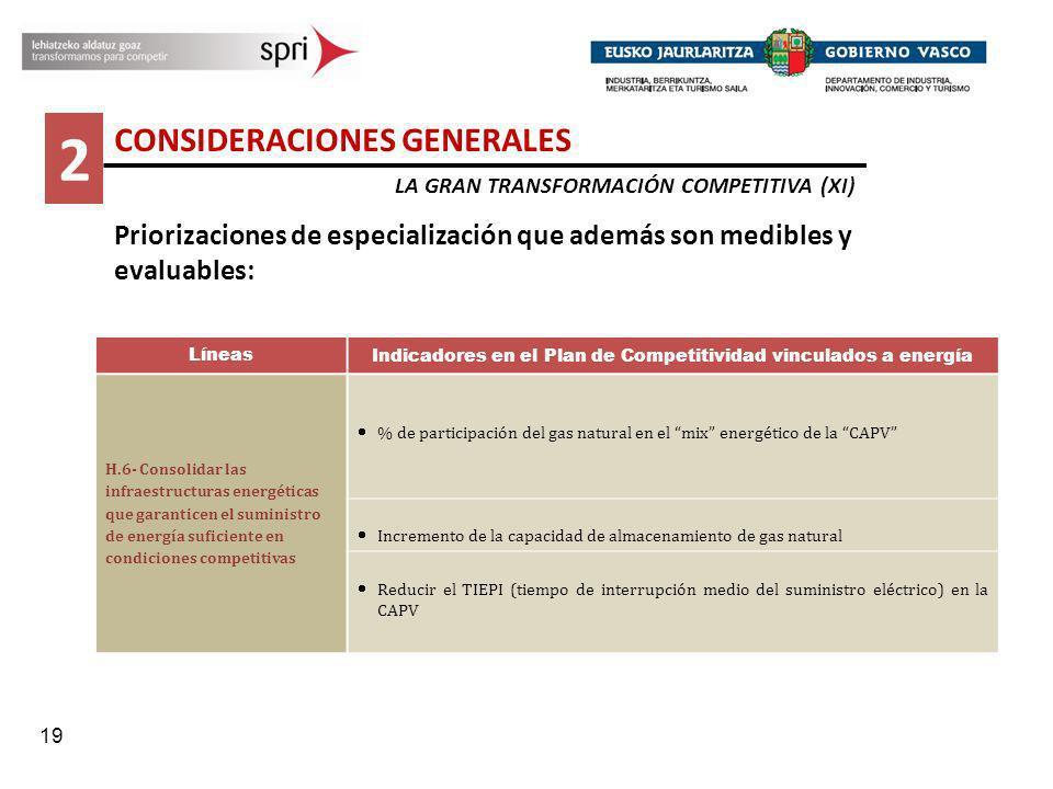 19 2 CONSIDERACIONES GENERALES LA GRAN TRANSFORMACIÓN COMPETITIVA (XI) Priorizaciones de especialización que además son medibles y evaluables: Líneas
