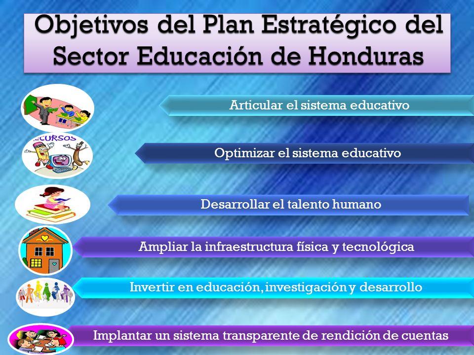 Articular el sistema educativo Optimizar el sistema educativo Desarrollar el talento humano Ampliar la infraestructura física y tecnológica Invertir en educación, investigación y desarrollo Implantar un sistema transparente de rendición de cuentas
