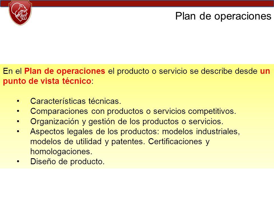 En el Plan de operaciones el producto o servicio se describe desde un punto de vista técnico: Características técnicas.