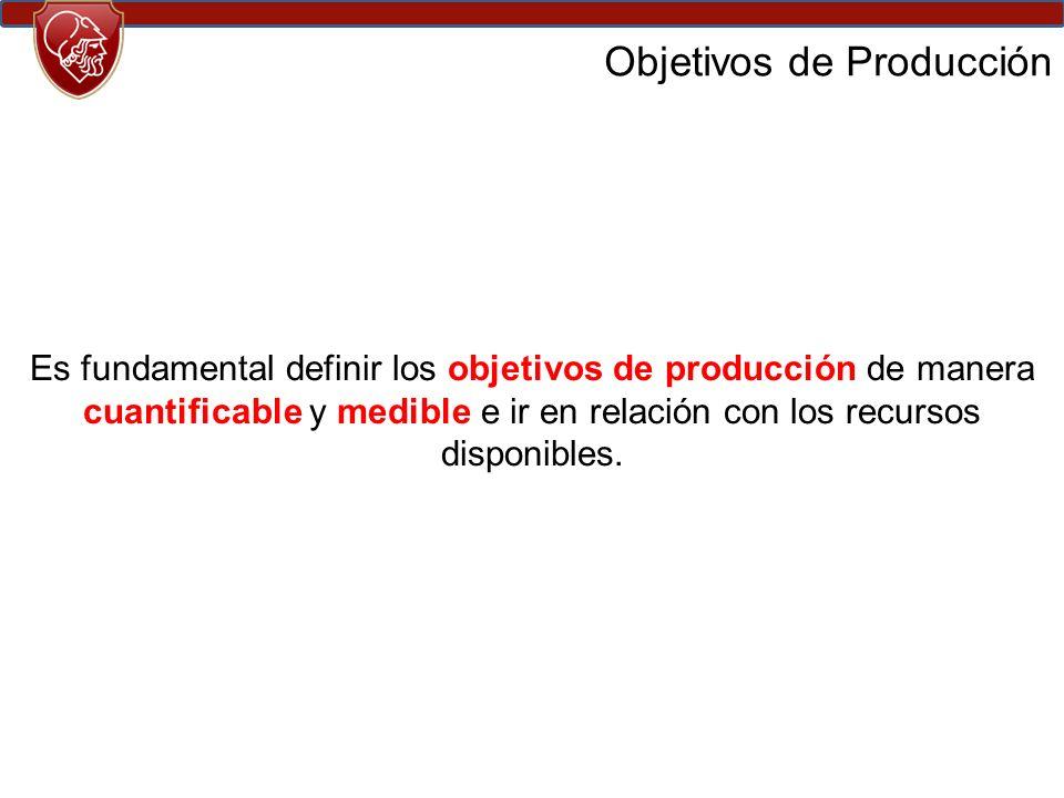 Objetivos de Producción Es fundamental definir los objetivos de producción de manera cuantificable y medible e ir en relación con los recursos disponibles.