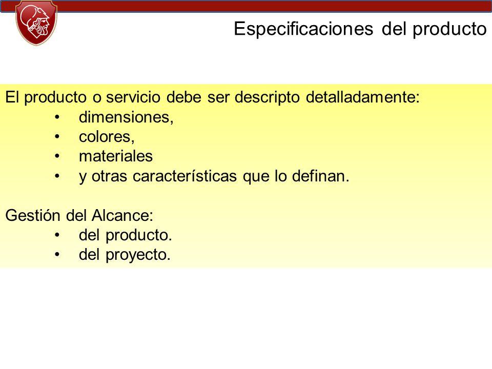Especificaciones del producto El producto o servicio debe ser descripto detalladamente: dimensiones, colores, materiales y otras características que lo definan.