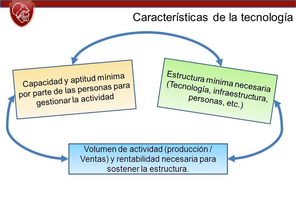 Capacidad y aptitud mínima por parte de las personas para gestionar la actividad Estructura mínima necesaria (Tecnología, infraestructura, personas, etc.) Volumen de actividad (producción / Ventas) y rentabilidad necesaria para sostener la estructura.