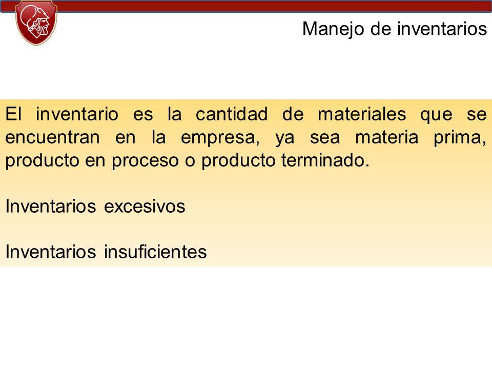 Manejo de inventarios El inventario es la cantidad de materiales que se encuentran en la empresa, ya sea materia prima, producto en proceso o producto terminado.