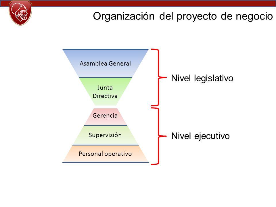 Organización del proyecto de negocio Asamblea General Junta Directiva Gerencia Supervisión Personal operativo Nivel legislativo Nivel ejecutivo