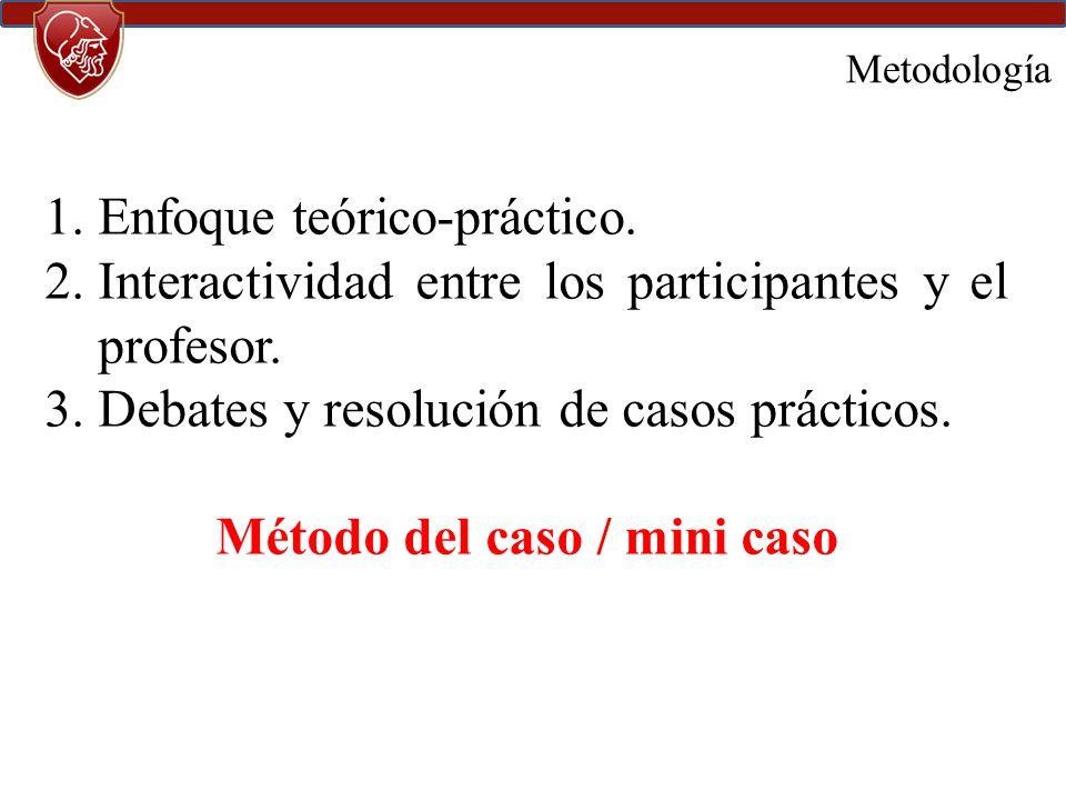 Metodología 1.Enfoque teórico-práctico.2.Interactividad entre los participantes y el profesor.