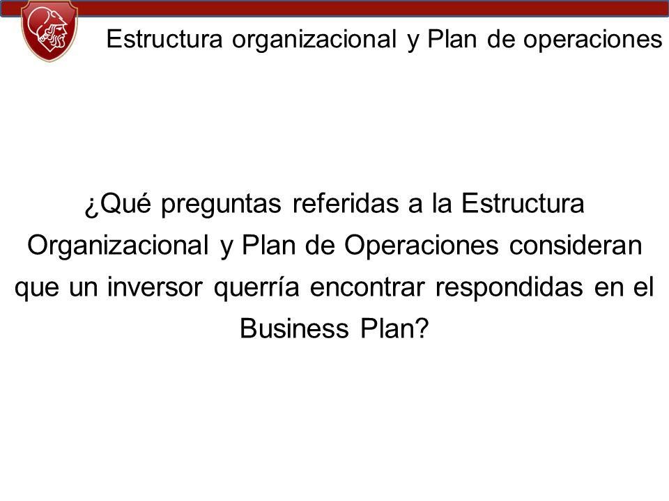 ¿Qué preguntas referidas a la Estructura Organizacional y Plan de Operaciones consideran que un inversor querría encontrar respondidas en el Business Plan.