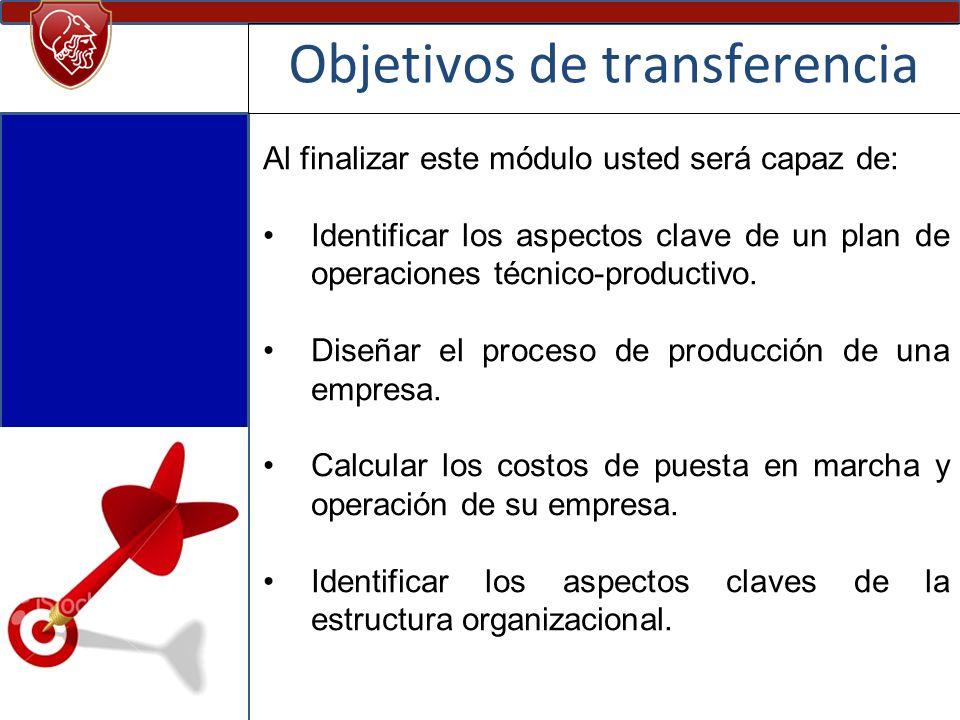 Objetivos de transferencia Al finalizar este módulo usted será capaz de: Identificar los aspectos clave de un plan de operaciones técnico-productivo.