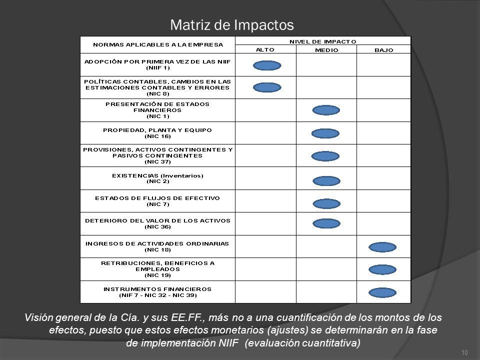 Matriz de Impactos 10 Visión general de la Cía. y sus EE.FF., más no a una cuantificación de los montos de los efectos, puesto que estos efectos monet