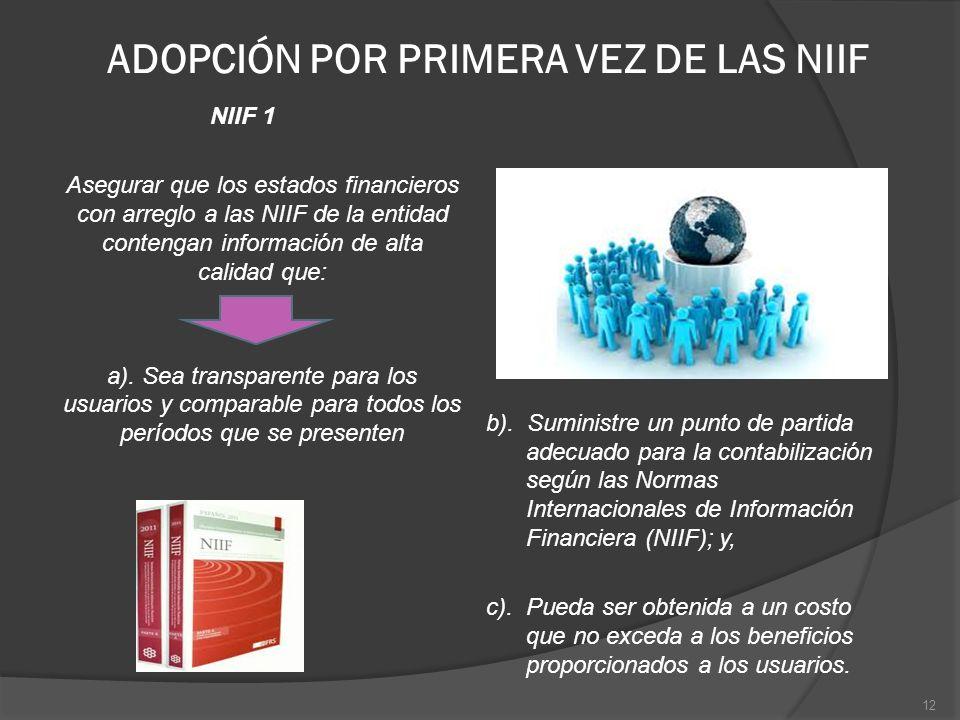 ADOPCIÓN POR PRIMERA VEZ DE LAS NIIF NIIF 1 Asegurar que los estados financieros con arreglo a las NIIF de la entidad contengan información de alta ca