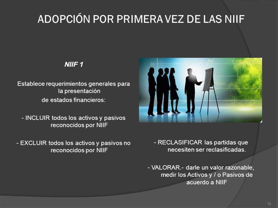 ADOPCIÓN POR PRIMERA VEZ DE LAS NIIF NIIF 1 Establece requerimientos generales para la presentación de estados financieros: - INCLUIR todos los activo