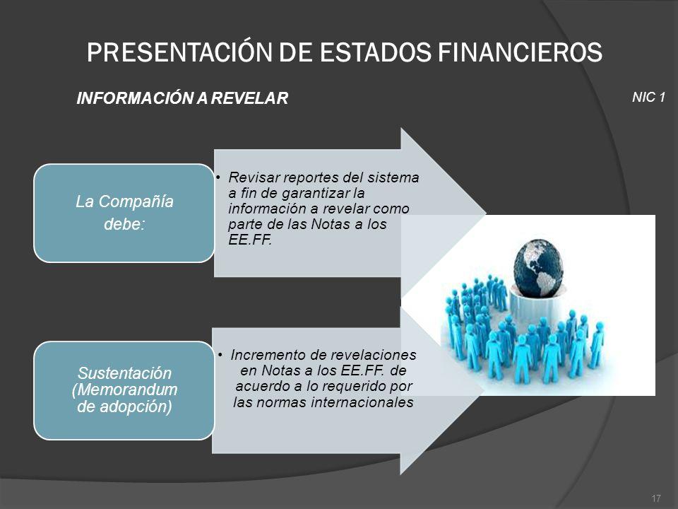 PRESENTACIÓN DE ESTADOS FINANCIEROS INFORMACIÓN A REVELAR NIC 1 17 Revisar reportes del sistema a fin de garantizar la información a revelar como part
