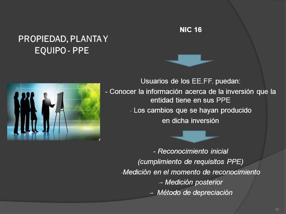 PROPIEDAD, PLANTA Y EQUIPO - PPE NIC 16 Usuarios de los EE.FF. puedan: - Conocer la información acerca de la inversión que la entidad tiene en sus PPE