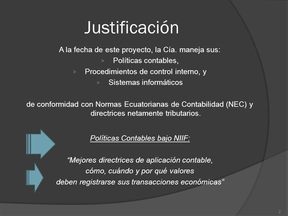 Justificación A la fecha de este proyecto, la Cía. maneja sus: > Políticas contables, > Procedimientos de control interno, y > Sistemas informáticos d