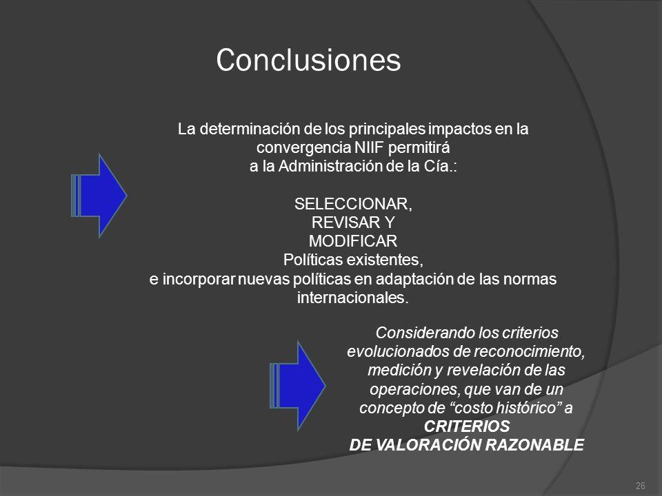 Conclusiones La determinación de los principales impactos en la convergencia NIIF permitirá a la Administración de la Cía.: SELECCIONAR, REVISAR Y MOD