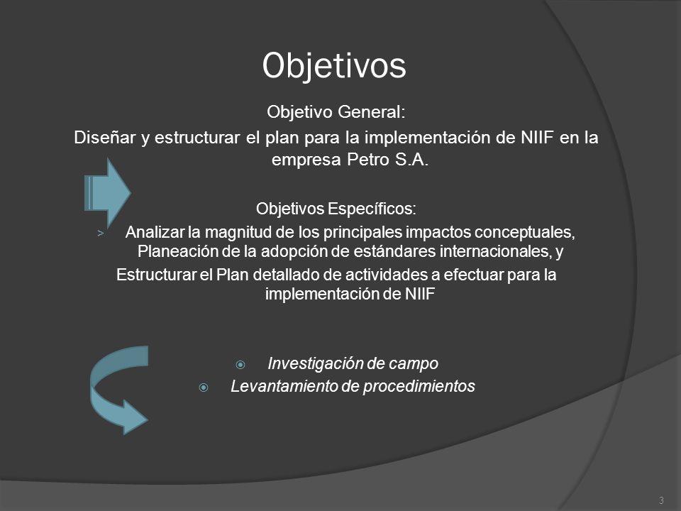 Objetivos Objetivo General: Diseñar y estructurar el plan para la implementación de NIIF en la empresa Petro S.A. Objetivos Específicos: > Analizar la