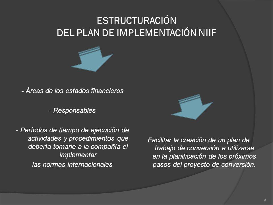 ESTRUCTURACIÓN DEL PLAN DE IMPLEMENTACIÓN NIIF - Áreas de los estados financieros - Responsables - Períodos de tiempo de ejecución de actividades y pr