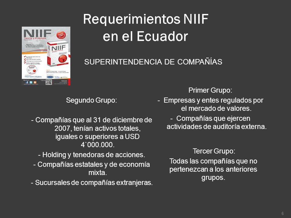 Requerimientos NIIF en el Ecuador SUPERINTENDENCIA DE COMPAÑÍAS Primer Grupo: - Empresas y entes regulados por el mercado de valores. - Compañías que