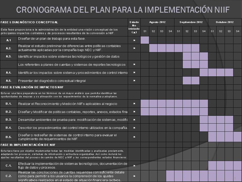 CRONOGRAMA DEL PLAN PARA LA IMPLEMENTACIÓN NIIF 9