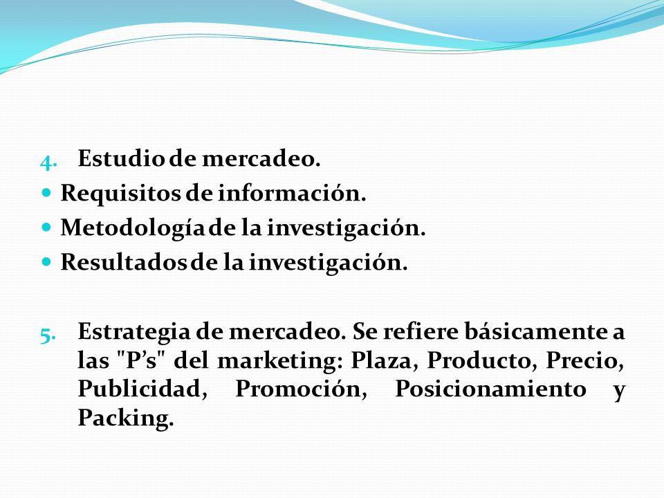 4. Estudio de mercadeo. Requisitos de información. Metodología de la investigación. Resultados de la investigación. 5. Estrategia de mercadeo. Se refi