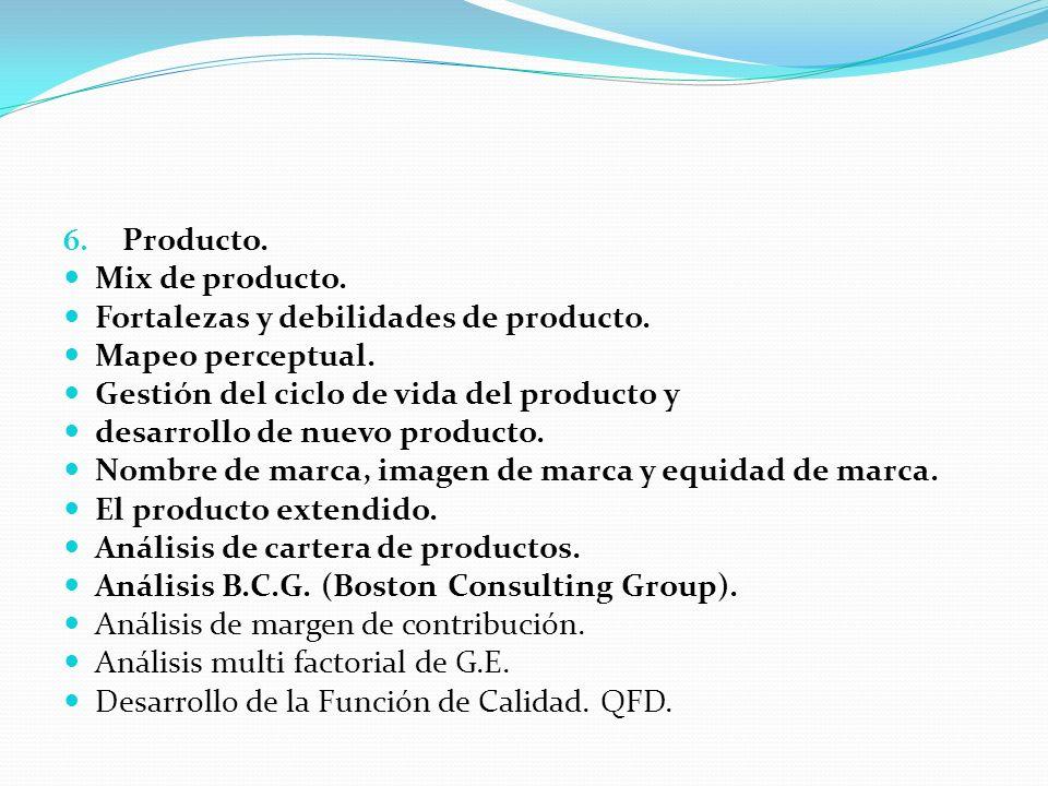 6. Producto. Mix de producto. Fortalezas y debilidades de producto. Mapeo perceptual. Gestión del ciclo de vida del producto y desarrollo de nuevo pro