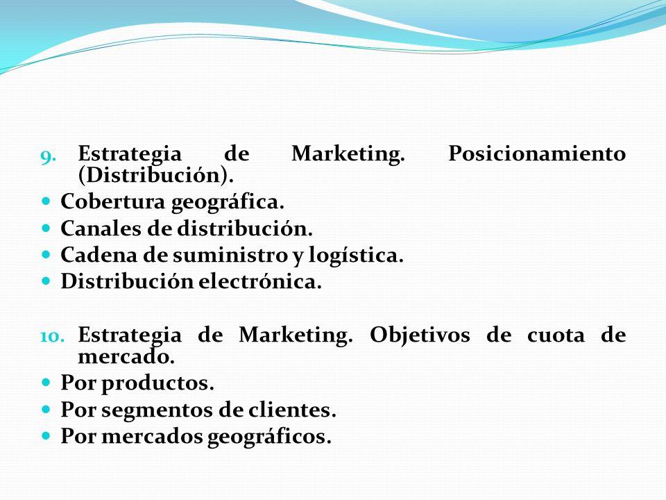 9. Estrategia de Marketing. Posicionamiento (Distribución). Cobertura geográfica. Canales de distribución. Cadena de suministro y logística. Distribuc