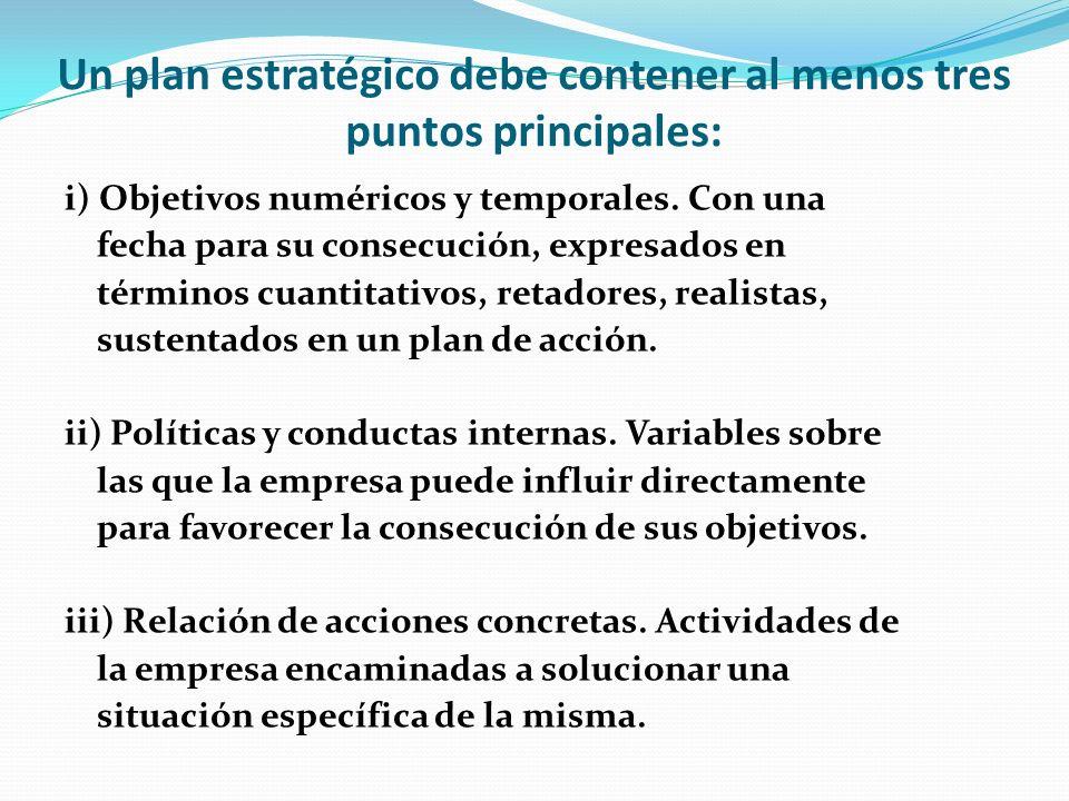 Un plan estratégico debe contener al menos tres puntos principales: i) Objetivos numéricos y temporales. Con una fecha para su consecución, expresados