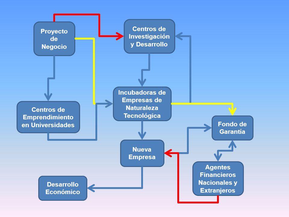 Centros de Investigación y Desarrollo Proyecto de Negocio Nueva Empresa Incubadoras de Empresas de Naturaleza Tecnológica Desarrollo Económico Agentes