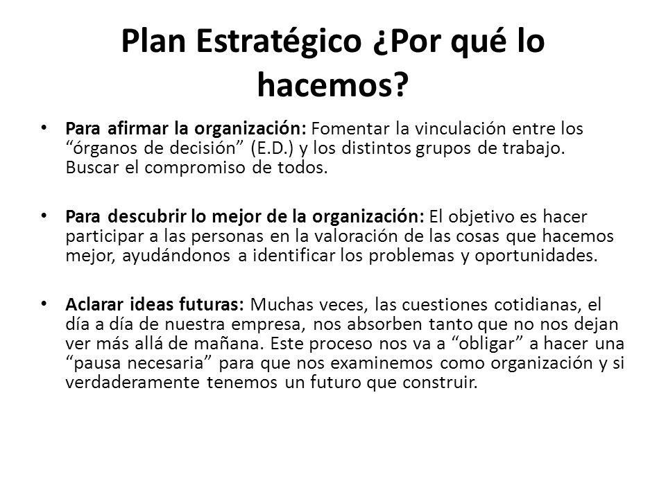 Plan Estratégico ¿Por qué lo hacemos? Para afirmar la organización: Fomentar la vinculación entre los órganos de decisión (E.D.) y los distintos grupo
