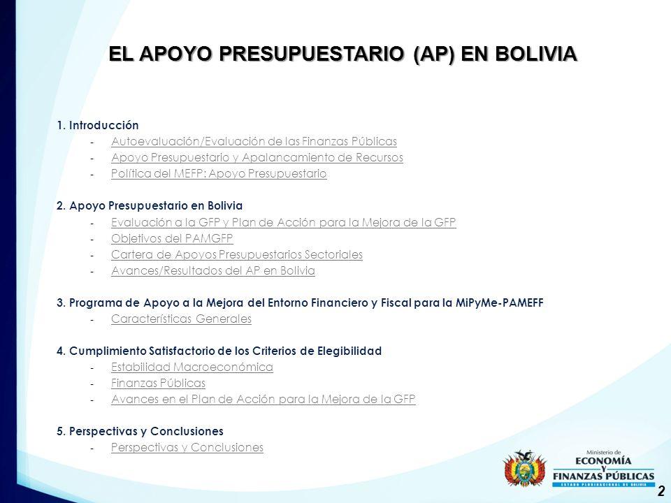 EL APOYO PRESUPUESTARIO (AP) EN BOLIVIA 1.