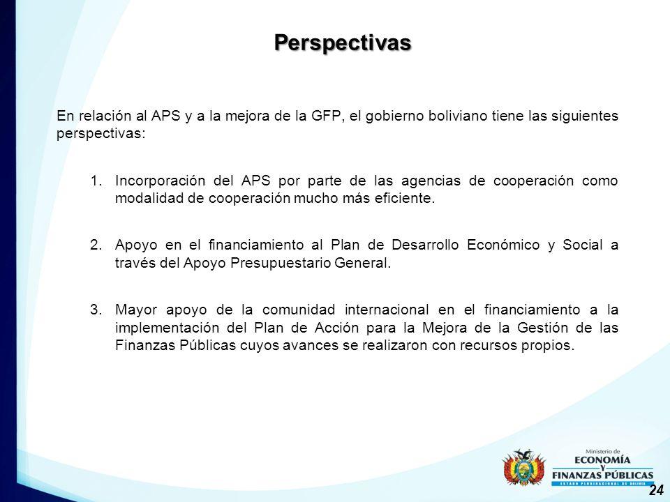 En relación al APS y a la mejora de la GFP, el gobierno boliviano tiene las siguientes perspectivas: 1.Incorporación del APS por parte de las agencias de cooperación como modalidad de cooperación mucho más eficiente.