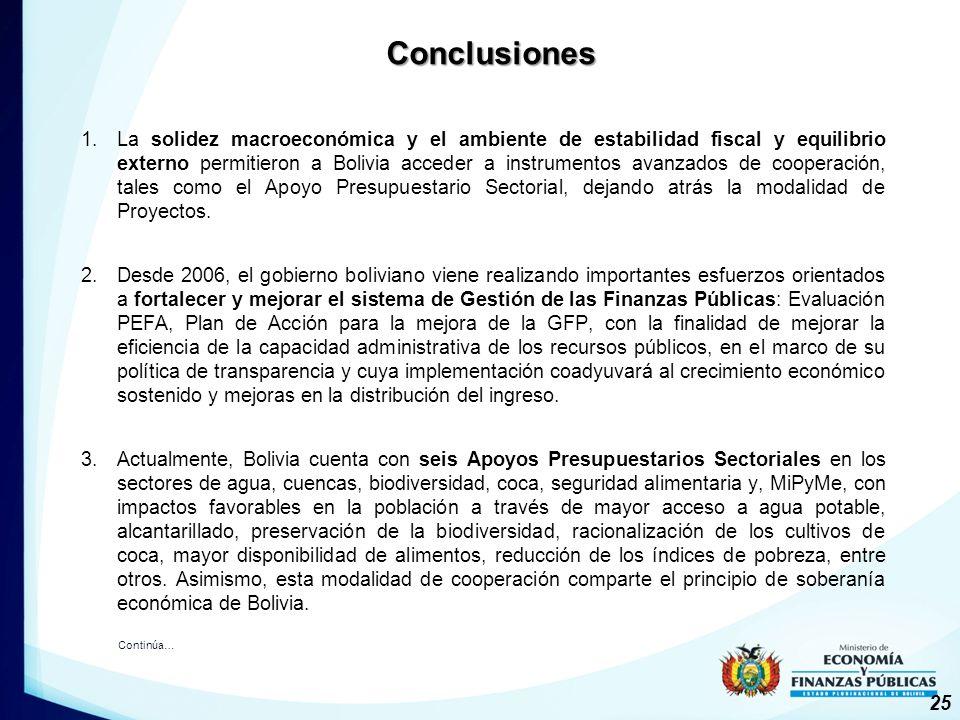 1.La solidez macroeconómica y el ambiente de estabilidad fiscal y equilibrio externo permitieron a Bolivia acceder a instrumentos avanzados de cooperación, tales como el Apoyo Presupuestario Sectorial, dejando atrás la modalidad de Proyectos.