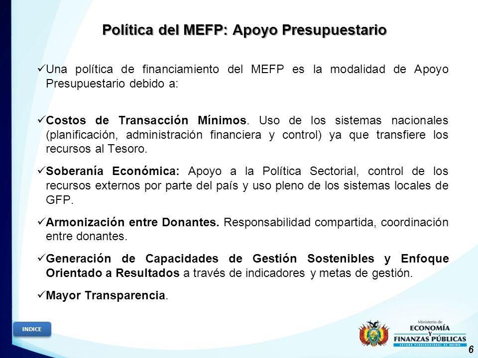Política del MEFP: Apoyo Presupuestario 6 INDICE Una política de financiamiento del MEFP es la modalidad de Apoyo Presupuestario debido a: Costos de Transacción Mínimos.