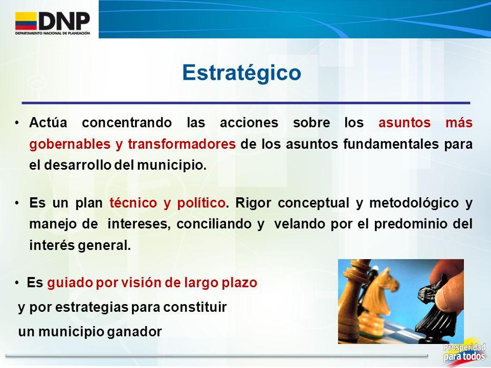 Estratégico Actúa concentrando las acciones sobre los asuntos más gobernables y transformadores de los asuntos fundamentales para el desarrollo del municipio.