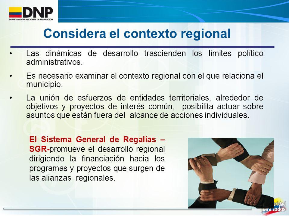 Las dinámicas de desarrollo trascienden los límites político administrativos. Es necesario examinar el contexto regional con el que relaciona el munic