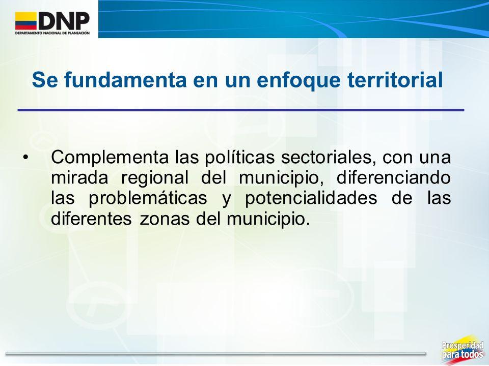 Complementa las políticas sectoriales, con una mirada regional del municipio, diferenciando las problemáticas y potencialidades de las diferentes zonas del municipio.