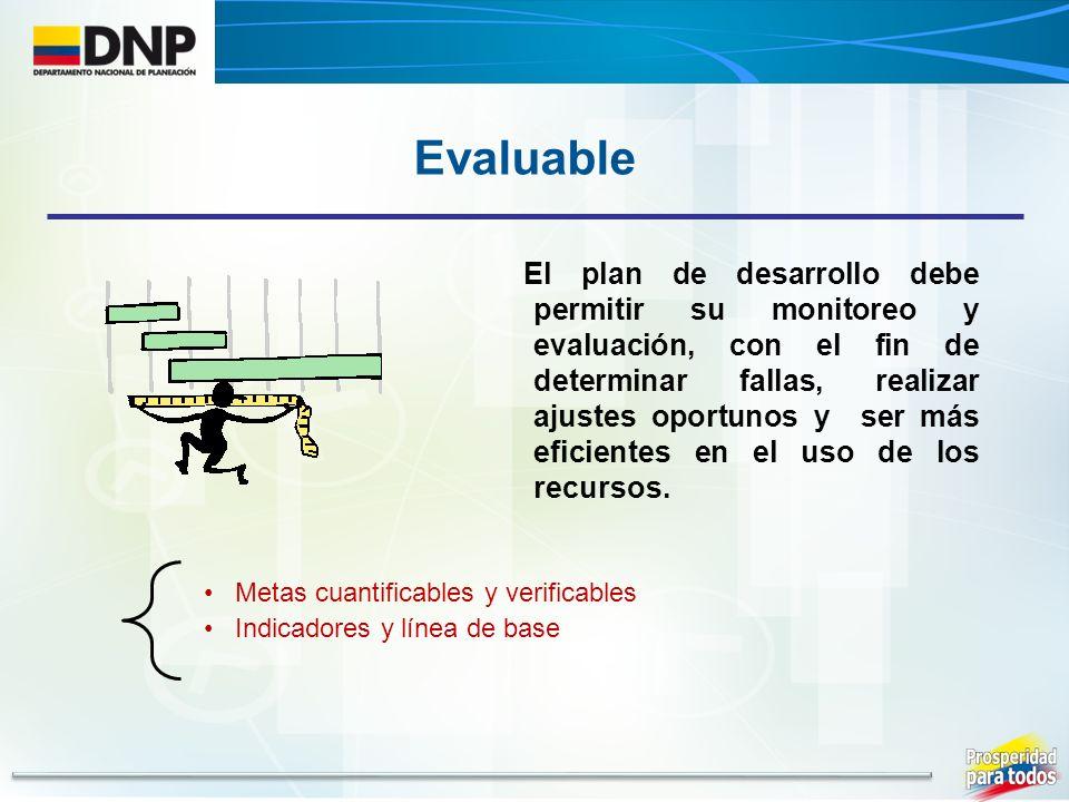El plan de desarrollo debe permitir su monitoreo y evaluación, con el fin de determinar fallas, realizar ajustes oportunos y ser más eficientes en el uso de los recursos.