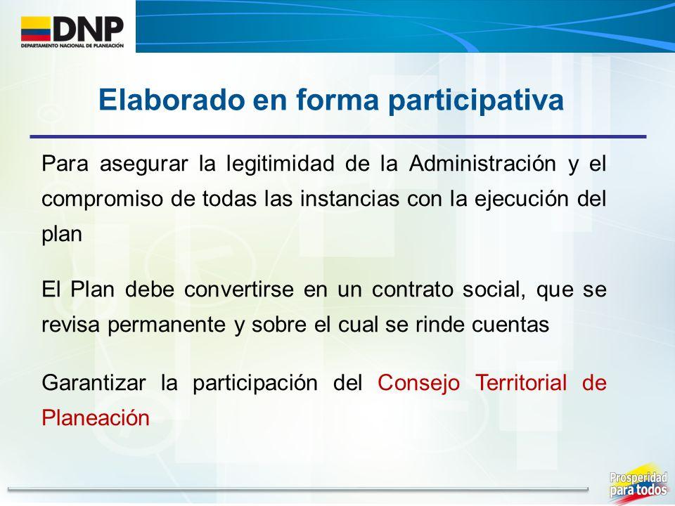 Para asegurar la legitimidad de la Administración y el compromiso de todas las instancias con la ejecución del plan El Plan debe convertirse en un contrato social, que se revisa permanente y sobre el cual se rinde cuentas Garantizar la participación del Consejo Territorial de Planeación Elaborado en forma participativa