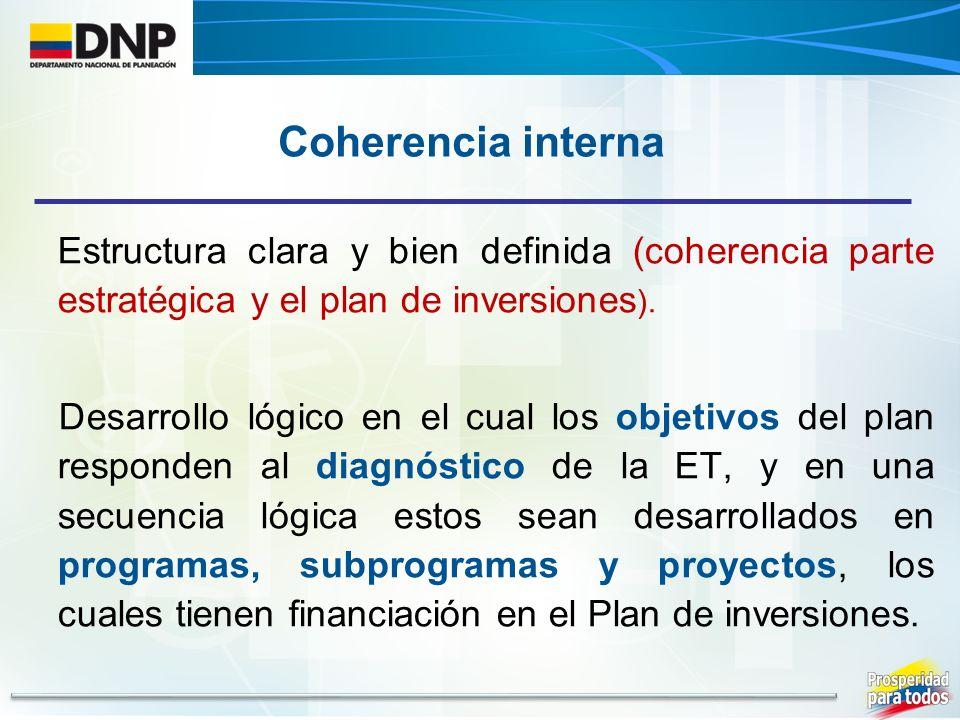 Estructura clara y bien definida (coherencia parte estratégica y el plan de inversiones ).