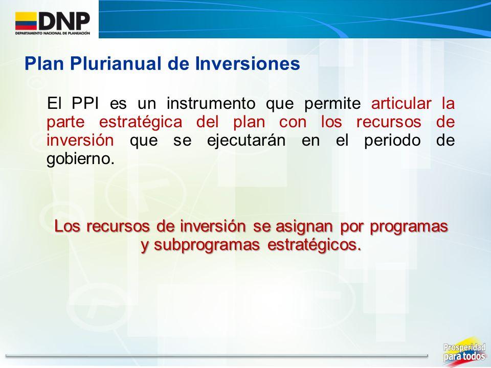El PPI es un instrumento que permite articular la parte estratégica del plan con los recursos de inversión que se ejecutarán en el periodo de gobierno.